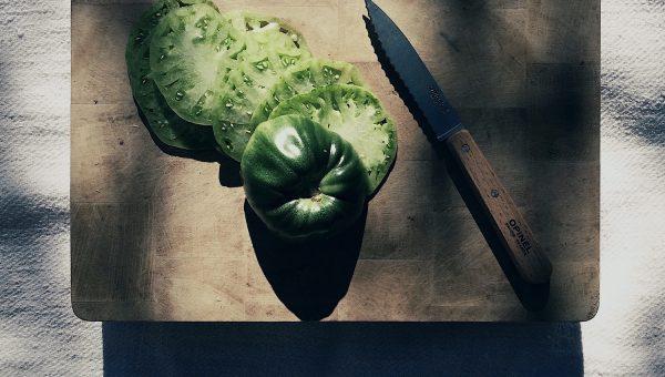 tranches de tomates vertes